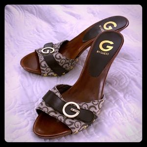 Guess Wood Heels with Signature Design and Buckle